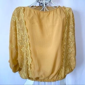 Angie Gold / Yellow Boho Sheer Top Size Large